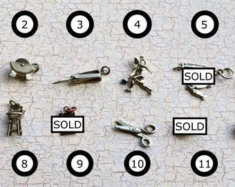 Lot 2 YOUR CHOICE of ONE Vintage Mechanical Sterling Silver Charms Fishing, Bowling, Knife, Skull, Scissors, Majorette