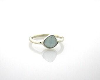 SALE! Aquamarine rough cut sterling silver ring | March Birthstone - Pisces & Aries | Bohemian | Boho