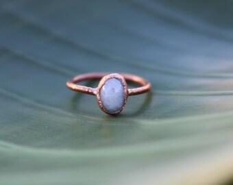 Small Moonstone Ring | Moonstone Ring | Rainbow Moonstone Ring | June Birthstone Ring | Organic Stone Jewelry | Moonstone Jewelry | Gem Ring