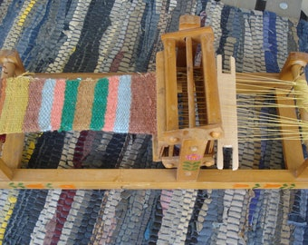 Vintage Small Bulgarian Table Loom/ Rare Child Weaving Loom/ Toy Weaving Loom /Wooden Loom with traditional rug/1980s