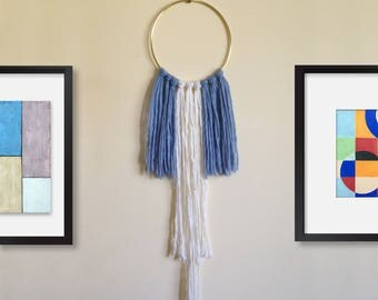 RECYCLED Yarn Wall Hanging Brass Blue White Boho Tapestry Wall Art
