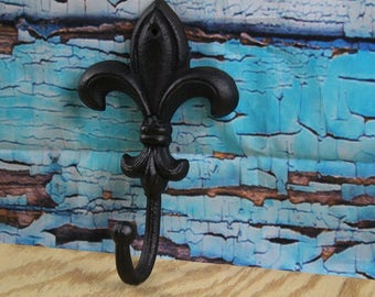 "Fluer De Lis Cast Iron Hook Black 5"" W x 8"" H"