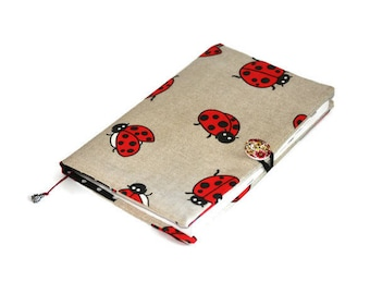 Fabric Book Cover, Ladybug Cover, , Textile Book Cover, Paperback book cover, Bible Cover, Book Cover, Book Protector, Book Accessories