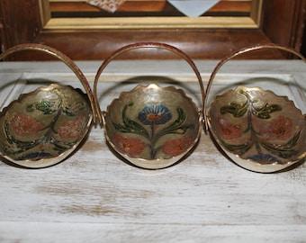 Cloisonne Basket, Vintage Brass Enameled Cloisonne Basket Trio/Ring Holder/Trinket Holder