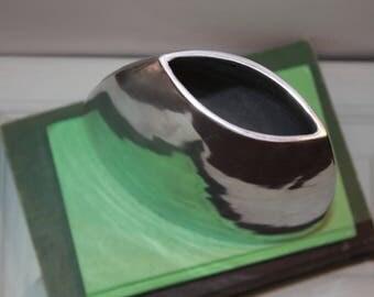 Geometric Vase, Vintage Aluminum Or Pewter Geometric Style Vase, Minimalist Vase