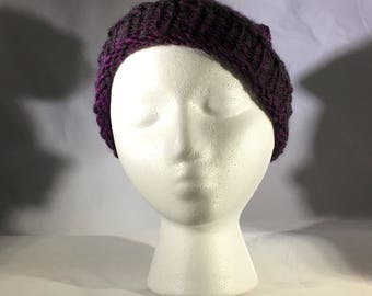 Purple and grey hat with brim