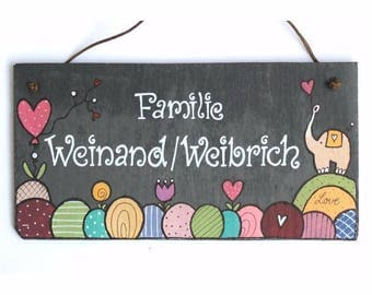Door sign hand-painted nameplate slate with compose motif retro elephant for the front door to the feeder, birthday, wedding, slate