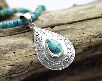 Silver and Turquoise Drop Pendant