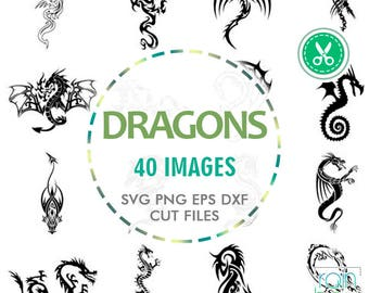 Dragon Svg, Dragon Clipart, Dragon Decal, Dragon Tattoo, Print And Cut, Digital Cut Files, Svg Files For Cricut Monogram, Svg Originals, Dxf