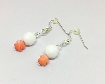 Pink Coral and White Dangle Earrings