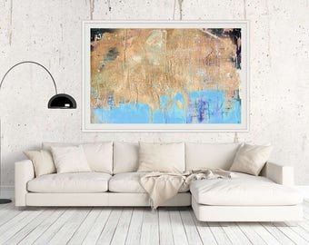 Giclee Large PRINT Gold Pastel Blue Modern Art Abstract Seascape Large Gift for Friend Abstract Decor Large Wall Art Coastal Abstract Art