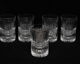 "Vintage Fostoria Aspen Highball 5"" crystal glass tumblers"