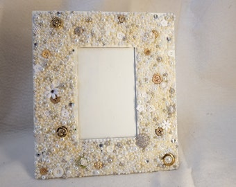 Hand beaded, Victorian style picture frame