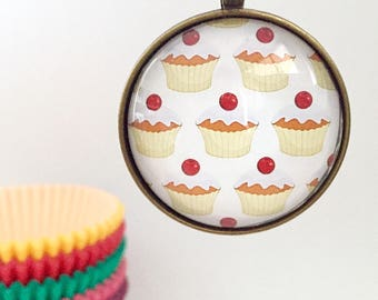 Cupcakes Round Glass Pendant Necklace