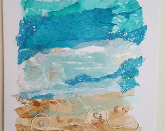 Sea Shore . Abstract Art collage.
