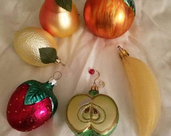 Glass fruit Christmas Holiday Tree Ornaments  Strawberry Banana Pear Lemon Apples