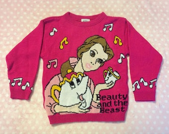 Disney Beauty and the Beast Vintage Children Sweater Belle Mrs Potts and Chip