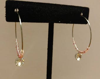 Pink Japanese Glass Seed Bead and Czech Glass, Stainless Steel Hoop Earrings with Swarkofski Element