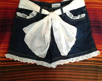 Redneck Bride Refashioned Up-cycled Stretch Denim Shorts Size 8P