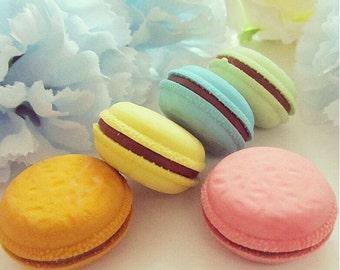 Cute Macaron Erasers novelty fun dessert pink yellow green blue (Set of 5)