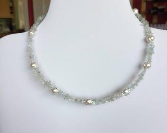 Genuine Aquamarine and Freshwater Pearl choker necklace. Pearl. Delicate Blue Aquamarine.