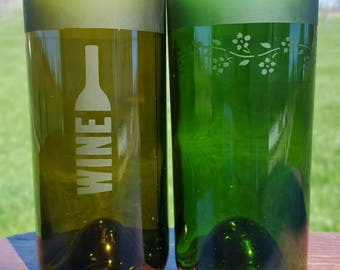Etched Wine Bottle - Handmade Drinking Glasses - Upcycled Bottle Bar Accessories -  Party Tumblers - Eco Friendly Barware - Recycled Glass