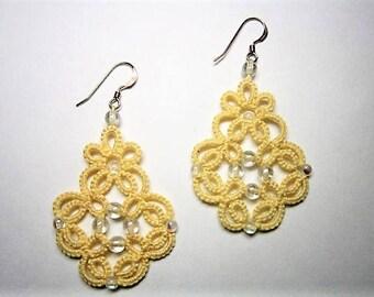 Yellow Lace Earrings, Yellow Earrings, Tatted Earrings, Tatted Lace Jewelry, Beaded Lace, Lace Earrings, Lace Jewelry, Beaded Earrings