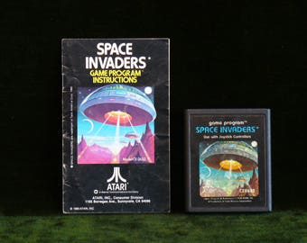 Vintage 1978 Atari 2600 Taito America Space Invaders Video Game Cartridge With Instructions Book