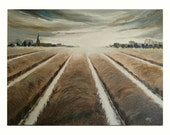 Quadro-plain-panorama-fields-water-oil paintings-landscape painting-piece-oil on canvas-nature-winter-x 40