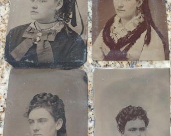 Close Ups of Curls:  Lot of 4 Antique Tintype Photographs of Women With Curled Hair