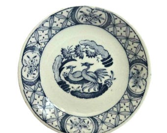 """Vintage Furnivals Old Chelsea 3"""" Porcelain White and Blue Mini Butter Pat Plate"""