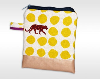 Small bag with panther, cats, pouch with panther, handy pouch, necessaire, yellow, copper