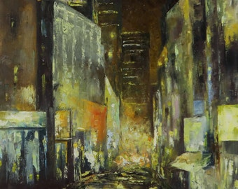 City Nights | Original Impressionist Oil Painting on Canvas 16inX20in