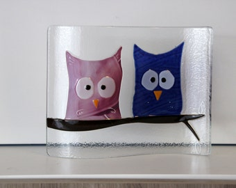 decoration in fused glass - owls