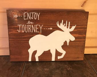 Enjoy the Journey Quote Moose Stained Wood Housewarming Gift Sign White Moose