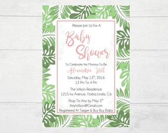 Tropical Baby Shower Printable Invitation. Tropical Baby Shower Invitation. Palm Fronds .