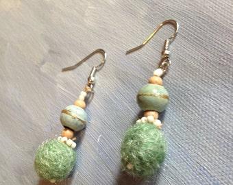 Handmade woolen felt green earrings