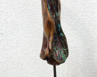 Hand Made Wooden Sculpture Embellished with Glitter.