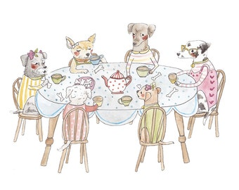 Doggie Tea Party Illustrated Card