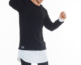 Men's sweater with shirt attached black sweater shirt attached warm sweater with shirt attached mens sweater with shirt black and white
