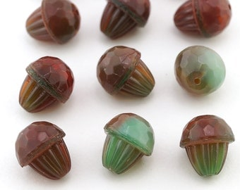 Green and Red Glass Acorn Beads, German, Oak, Nut, 13mm, 12 piece set, closeout #S112-67