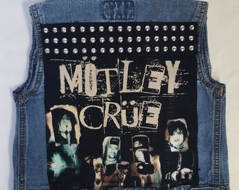 KIDS MOTLEY CRUE rock denim vest-size:5T