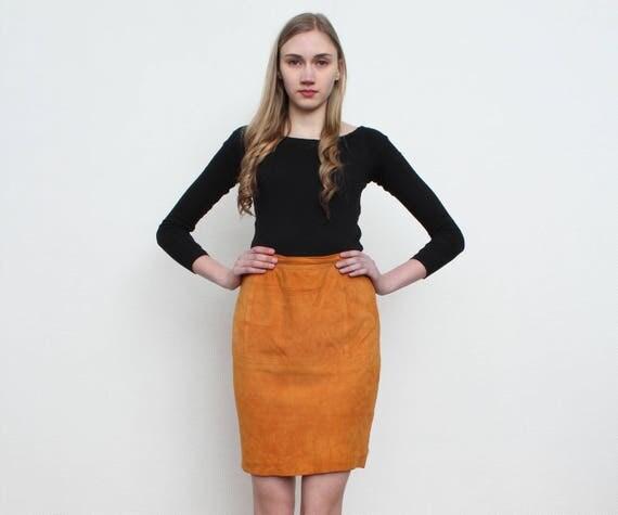 Orange Suede Mini Skirt/ Size UK 12