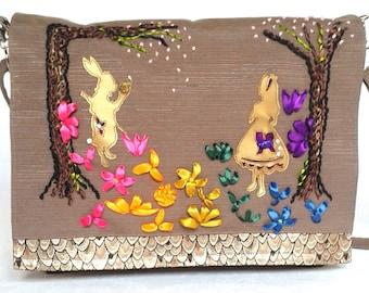 Embroidered Alice Messenger Bag