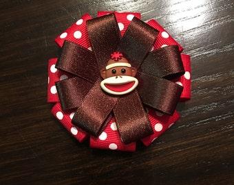 Sock Monkey Fancy Bow
