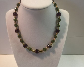 Green and Purple Glass Painted Beaded Necklace