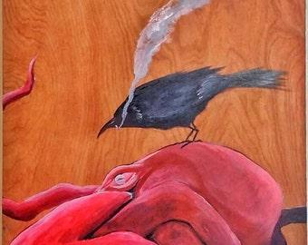Original acrylic painting, Octopus and Crow, Modern Art Painting, Acrylic painting on Wood panel, Original art