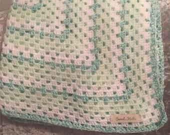Handmade mint green and white crochet baby blanket