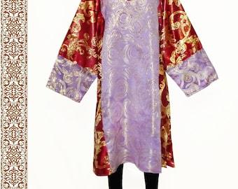 main festival traditional uzbek tunic dress golden brocade b497