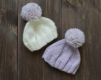 newborn croched twins hats photo prop, twin baby hats,  pompon newborn hat prop,  white lavender hat, newborn baby boy, newborn baby girl
